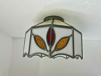 Vintage Stained Leaded Slag Glass Leaf Chandelier Swag Light Shade White Panel
