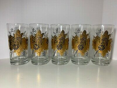 Set of 5 Vintage MCM Black & Gold Leaf Gourd Fall Autumn Water Glasses Tumblers