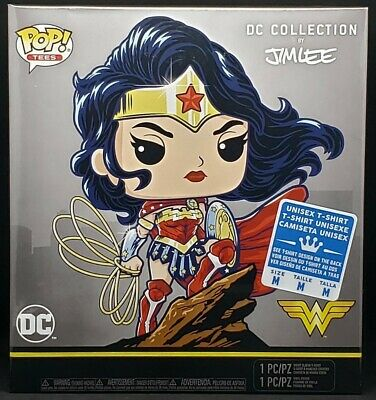 Funko Pop + TShirt! Wonder Woman #282 DC Comics Jim Lee Deluxe (Gamestop) Size M