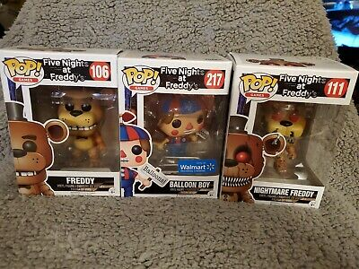Funko Pop Five Nights At Freddys Lot Of 3 Freddy, Nightmare Freddy, Balloon Boy