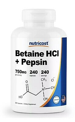 Nutricost Betaine HCl + Pepsin 750mg, 240 Capsules - Gluten Free & Non-GMO EXP21