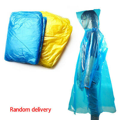 10xDisposable Adult Emergency Waterproof Rain Coat Poncho Hiking Camping Fishing