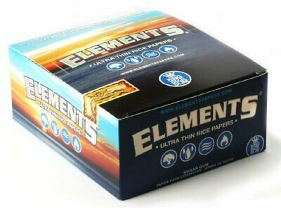 Elements King Size Slim Ultra Thin Rice Rolling Paper Full Box 50Packs  ELEMENTS