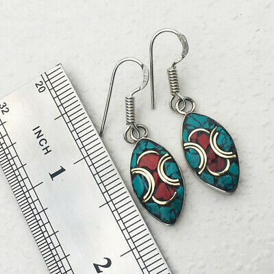 New Arrival - SE08 - Natural Turquoise & Coral Handmade Ethnic Earrings