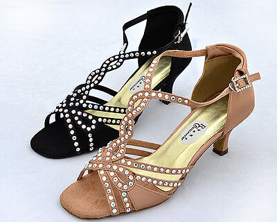 Ladies Black / Tan Ballroom, Latin, Salsa, Jive Dance Shoes - UK sizes 3 - 8
