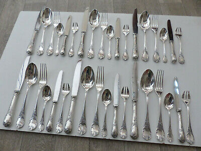 """CHRISTOFLE """" MARLY """" SILVER PLATE DINNER SET FLATWARE 36 PIECES ( set 2 )"""