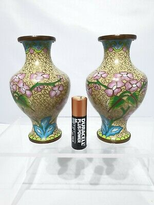"Nice 20thc Small Pair of Chinese Antique Cloisonne Vases 4"" Qing"