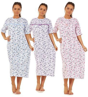 Women Cotton Long Nightdress Floral Button Short Sleeve Soft Nightwear M to 3XL