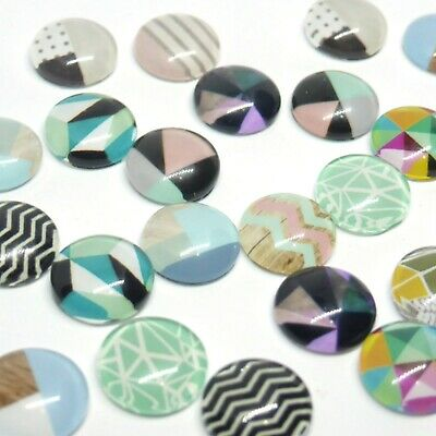 10 x Straight Line Patterned Cabochons for Earrings 12mm 10 pieces in Pairs