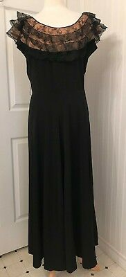 Vintage 1930's 1940's rayon dress, black with pink and black lace B42