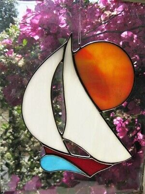 Stained Glass Sailing Boat With Sunset Handmade Suncatcher