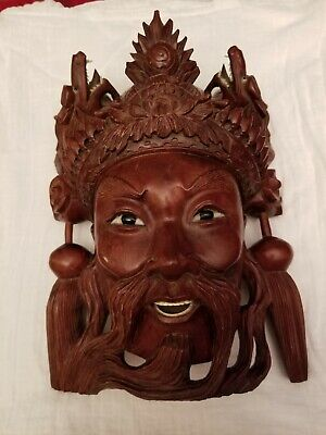 Antique Chinese Hand Carved Hardwood Emperor Mask with Dragons