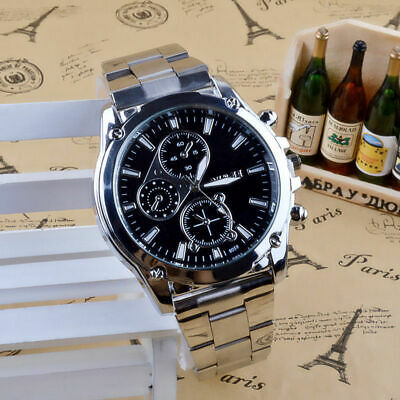 Fashion Casual Stainless Steel Quartz Analog Sport Military Date Men Wrist Watch