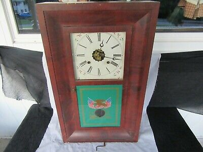 Mid 19th Century Ansonia Brass Co. Weight Drive Ogee Clock, American Flag *Works