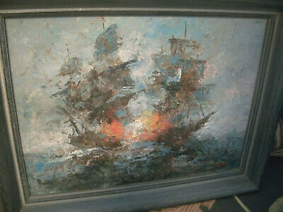 Vintage Mid Century Modern Abstract Oil Painting Pirate Ships Battle Sgnd Franz