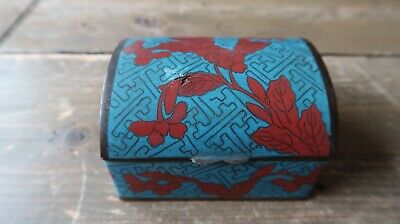 VERY OLD Antique Chinese Copper Enamel Cloisonne Chest Trinket Jar Box
