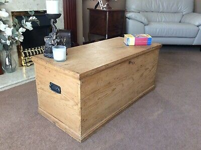 Fantastic Antique Victorian Vintage Pine Chest Trunk Blanket Box Coffee Table