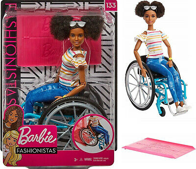 Barbie Fashionistas Doll with Wheelchair Brunette + Ramp, Disability Playset NEW