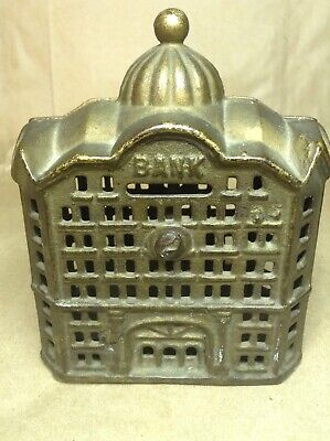 "Antique A.c.williams ""domed Bank"" Cast Iron Still Bank Great Patina"