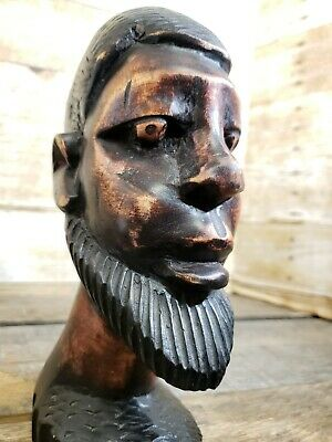 Vintage Hand-Carved Wood Folk Art Head Bust Man with Amish Beard