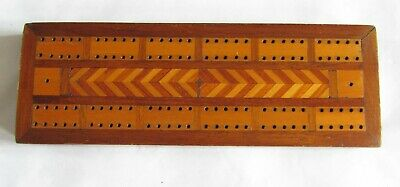 Vintage Antique Inlaid Wood Cribbage  Board with 4 Pegs - Made in England