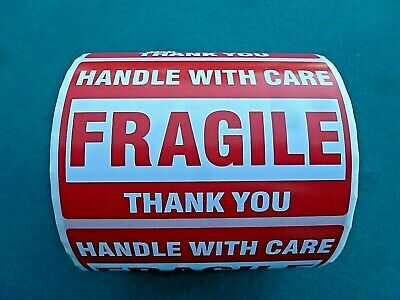 """FRAGILE Handle With Care Stickers 2"""" x 3"""" Roll Of 500 Self Stick Labels Fast Shp"""