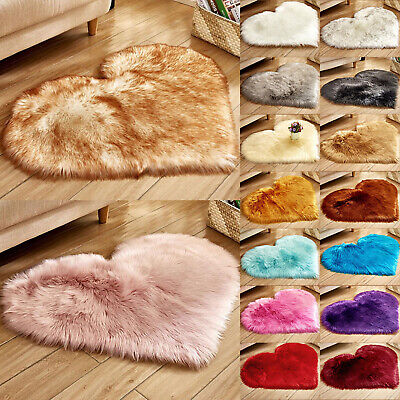 Love Heart Fluffy Mat Rugs Kids Soft Girls Boys Fake Faux Fur Bedroom Rug Mat UK