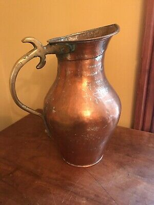 Antique Vintage Copper Pitcher Vase Brass Handle Patina