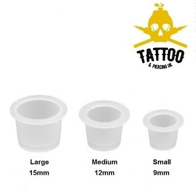 Tattoo Ink Cups / Pigment Mixing Pots - Clear Disposable Ink Holders - 3 sizes