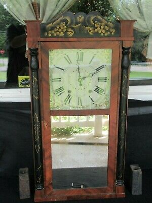 Antique 1830's Large Atkins & Downs Weight-Driven Clock & Mirror, (Works)