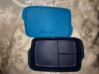 Tupperware Large Lunch-It Divided Dish Lunch Container Navy Blue