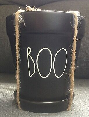 New Rae Dunn Halloween BOO Planter Artisan Collection By Magenta Black Glossy 5""