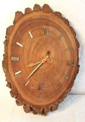 """Antique Rustic Country Free Form Oak Wood Hanging Wall Clock 17"""" Tall"""