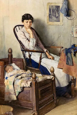 Dream-art Oil painting walter langley - motherhood mother with child hand paint