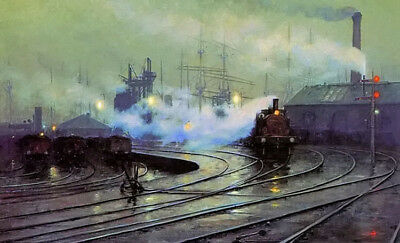 Dream-art Oil painting lionel walden the docks at cardiff cityscape steam trains