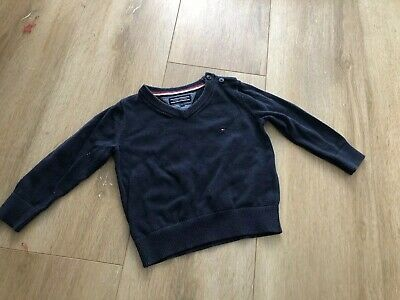 Tommy Hilfiger Baby Boy Logo Classic Navy Sweater Pull-on 9-12 Months Sz 0
