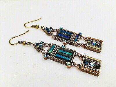 "Vintage Copper Brass AB Midnight Blue 21/2"" Panel Earrings Crystals Statement"