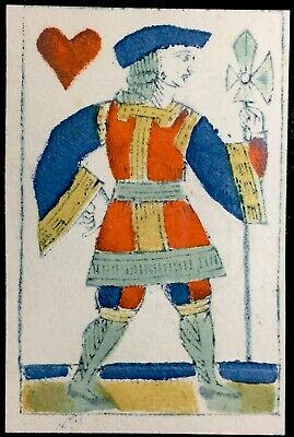 Authentic Historic Woodcut Colour Watermarked Antique Playing Cards Court Single