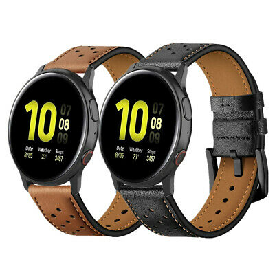 20mm Genuine Leather Watch Band Strap For Samsung Galaxy Watch Active 1/2 40/44