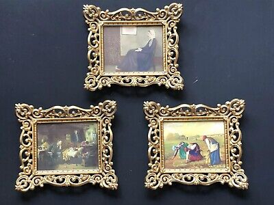 3 Vintage Gold Ornate Small Antique Frames Wall CAMEO Hollywood Regency Prints