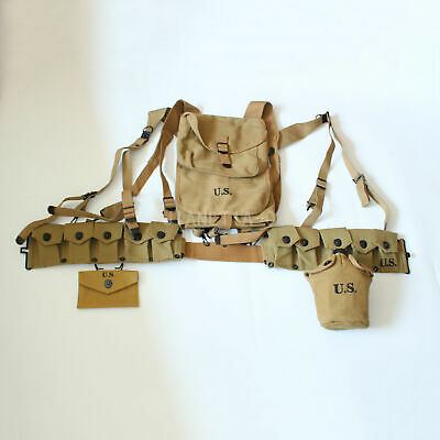 Reproduction WW2 US 1928 Haversack Canteen First Aid Pouch Ammo Belt Full Set