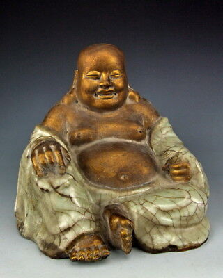 Chinese Antique Gilt Longquan Ware Porcelain Happy Buddha Statue