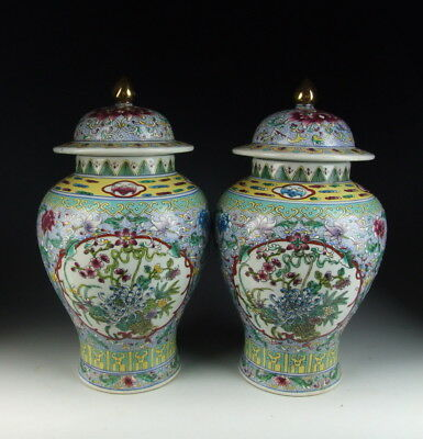 Pair of Chinese Antique Famille Rose Porcelain Lidded Jar Flower