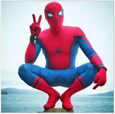 Comic Civil War Blue Red One-Piece Spider-Man Cosplay Suit Garment Boy Gift