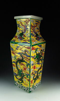 Chinese Antique Yellow Glazed Porcelain Square Vase w Dragon