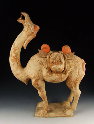 Chinese Antique Painted Pottery Camel Statue