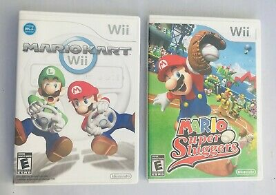 2 Game Lot Nintendo Wii MarioKart Kart Mario Super Sluggers Children's Video