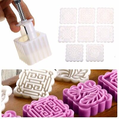75g DIY Plastic Square Baking Mooncake Mold Pastry Cake Mould + 8 Stamps Party