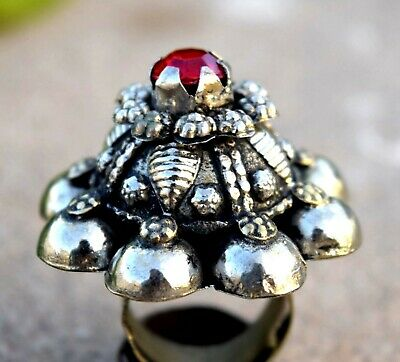 Afghan Kuchi Tower Ring Carved Ethnic Red Tribal Jewelry Boho Vintage Bohemian