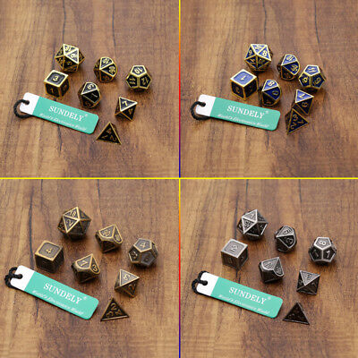 Antique Metal Polyhedral Dice DND RPG MTG Role Playing Game With Bag  SUNDELY
